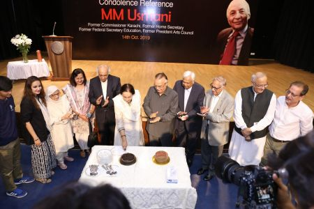 MM Usmani Birthday Cacke Cutting During His  Condolence Reference At Arts Council Karachi