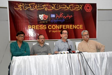 Mr. Ahmed Shah Holding The Press Conference For Awami Theater Festival 2018