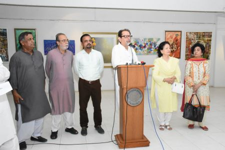 Muhammad Ahmed Shah President Arts Council On Stage In Annual Calligraphy Exhibition 2018 At Ahmed Pervez Art Gallery, Arts Council Karachi(1)