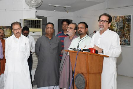Muhammad Ahmed Shah President Arts Council On Stage In Annual Calligraphy Exhibition 2018 At Ahmed Pervez Art Gallery, Arts Council Karachi (6)