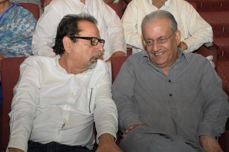 President Arts Council Mr. Ahmed Shah & Mian Raza Rabani During Tribute To Camrade Jam Saqi At Arts Council Karachi