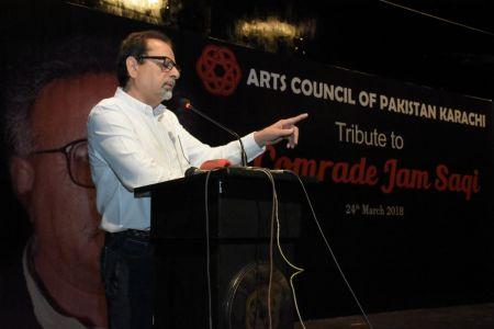 President Arts Council Mr Ahmed Shah During The Tribute To Camrade Jam Saqi At Arts Council Karachi