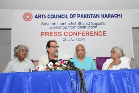 Press Conference About \'Save Shahid Sajjad\'s Art Work\' By Arts Council Of Pakistan Karachi (13)