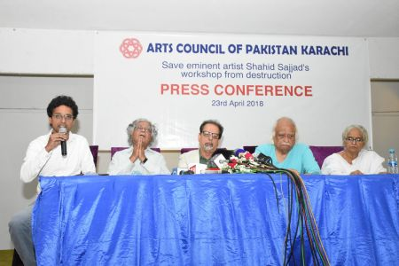 Press Conference About \'Save Shahid Sajjad\'s Art Work\' By Arts Council Of Pakistan Karachi (15)