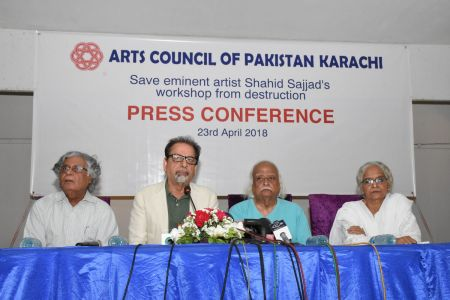 Press Conference About \'Save Shahid Sajjad\'s Art Work\' By Arts Council Of Pakistan Karachi (1)