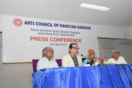 Press Conference About \'Save Shahid Sajjad\'s Art Work\' By Arts Council Of Pakistan Karachi (2)