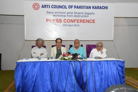 Press Conference About \'Save Shahid Sajjad\'s Art Work\' By Arts Council Of Pakistan Karachi (6)