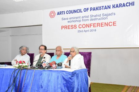Press Conference About \'Save Shahid Sajjad\'s Art Work\' By Arts Council Of Pakistan Karachi (9)