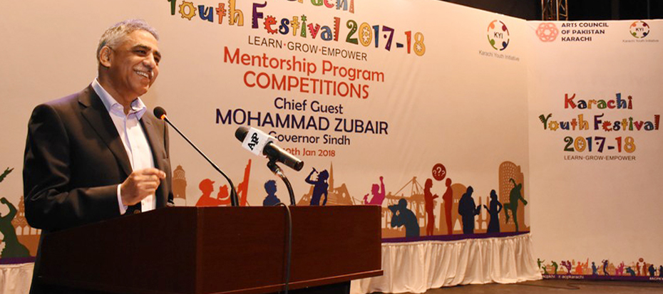 Governor Sindh Muhammad Zubair inaugurated Karachi Youth Festival 2017-18