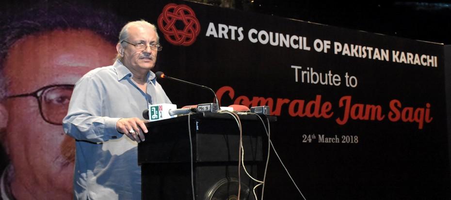 Tribute to late Comrade Jam Saqi, Mian Raza Rabani was the chief guest